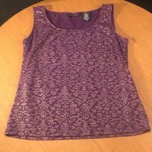 Apostrophe purple and gold tank
